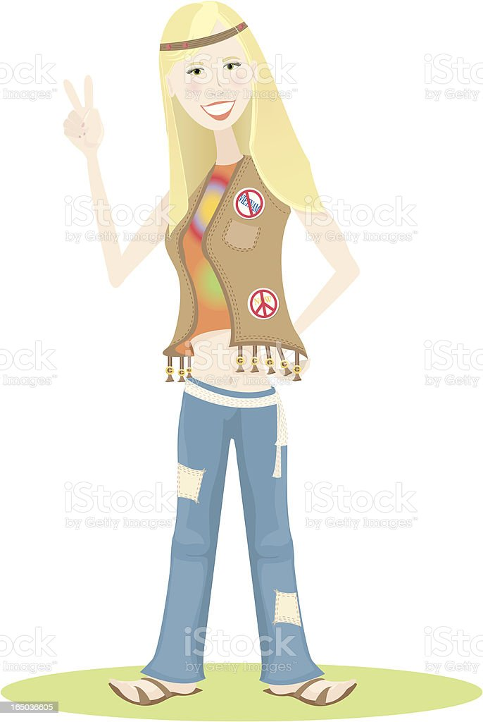 Hippie Girl vector art illustration