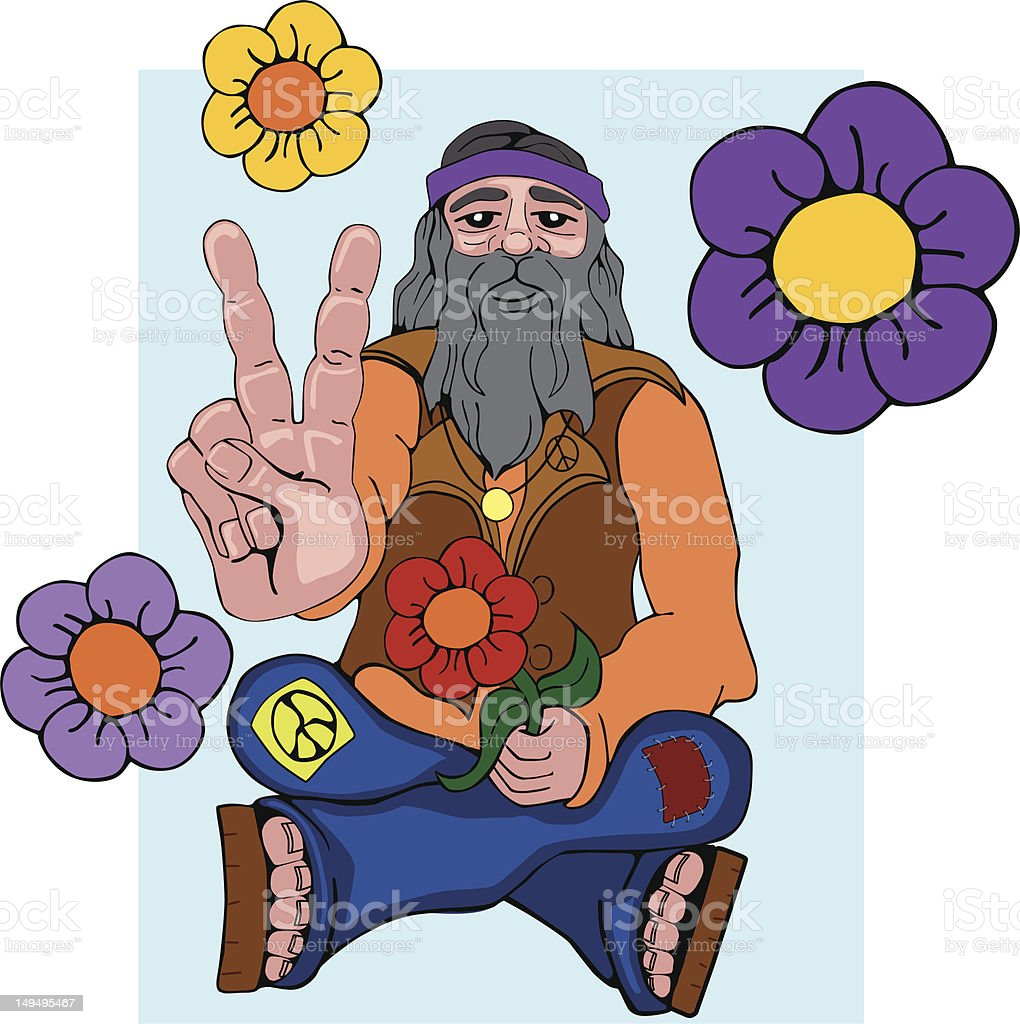 Hippie giving peace sign royalty-free stock vector art