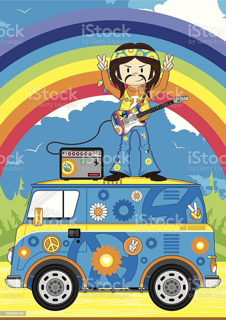 Hippie Guitarist on Camper Van Scene vector art illustration