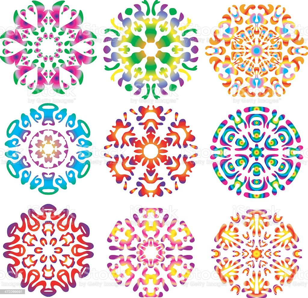 Hippie Tie-dye Snowflakes vector art illustration