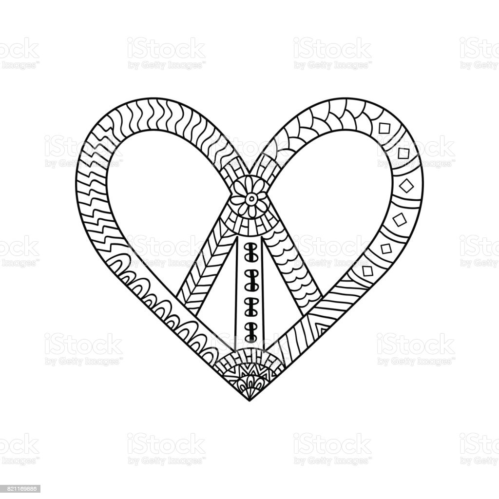Hippie Vintage Peace Symbol In Ornamental Style For Adult Anti Stress Coloring Page With High