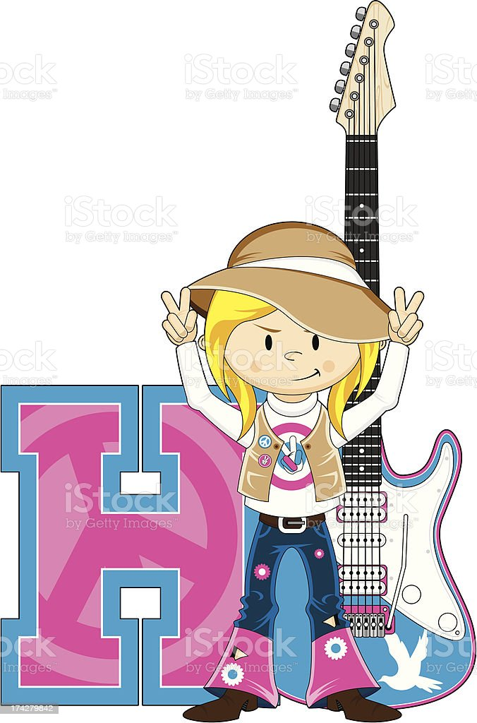 Hippie with Guitar Learning Letter H royalty-free stock vector art