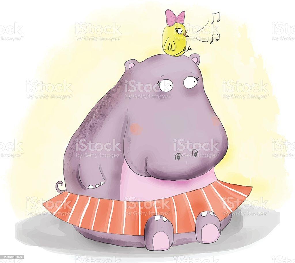 hippo and little bird vector art illustration