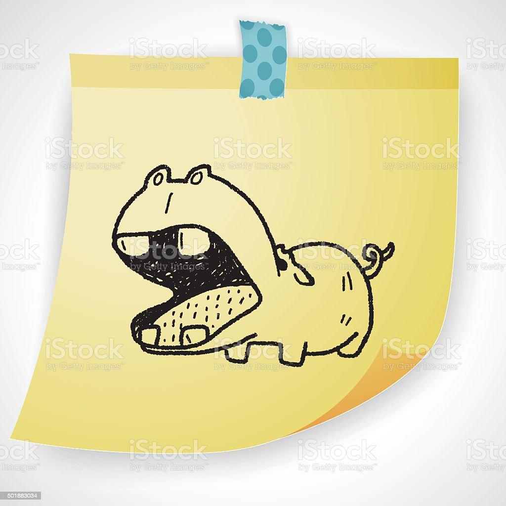hippo doodle vector art illustration