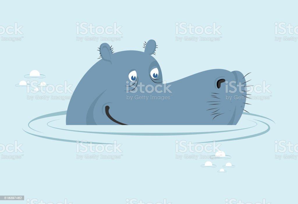 Hippo in water. Big fat hippopotamus  in swamp. vector art illustration