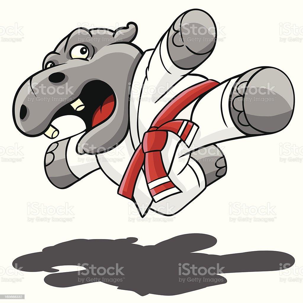 Hippo Kung Fu vector art illustration