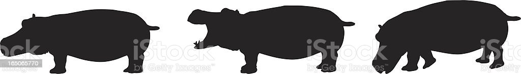Hippo Silhouette Collection vector art illustration