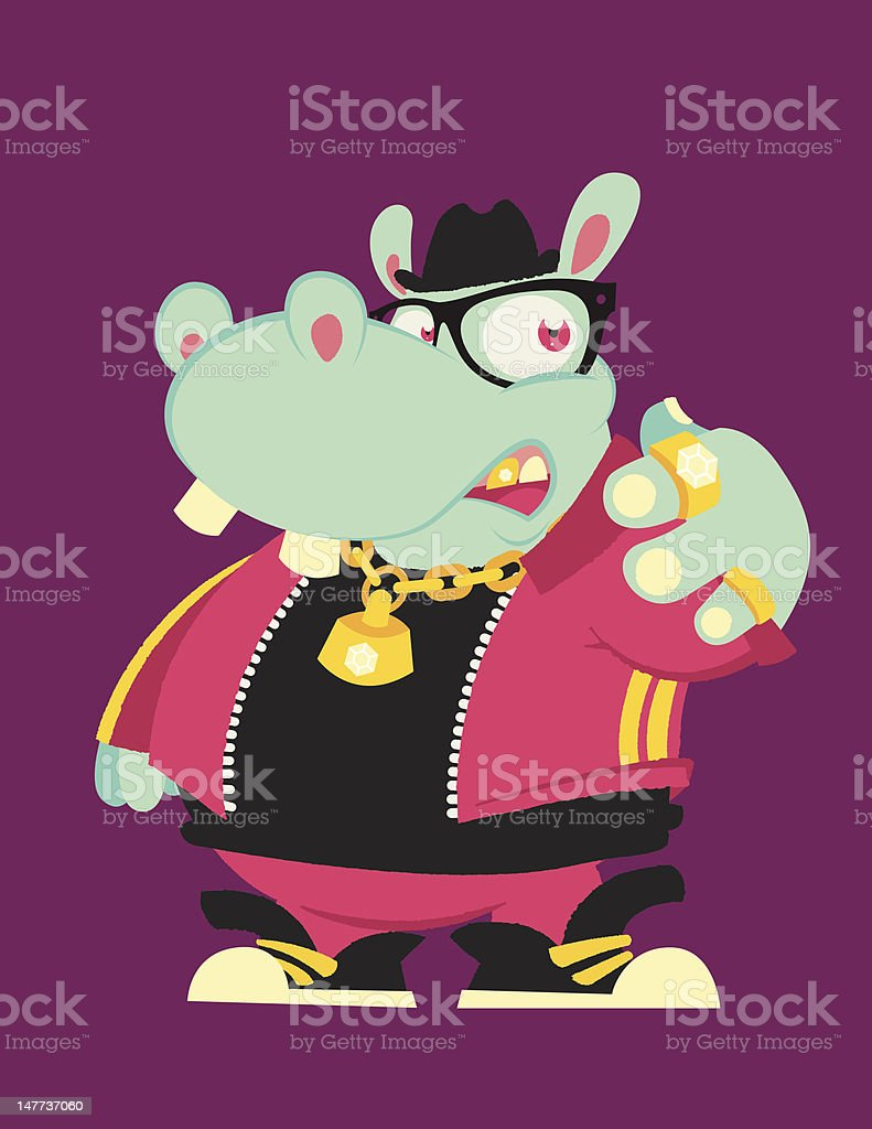 hippopotamus rap royalty-free stock vector art