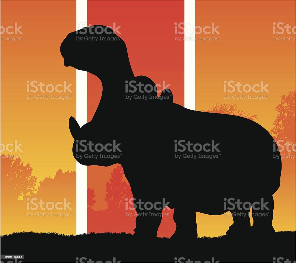 Hippopotamus silhouette in a hot climate royalty-free stock vector art