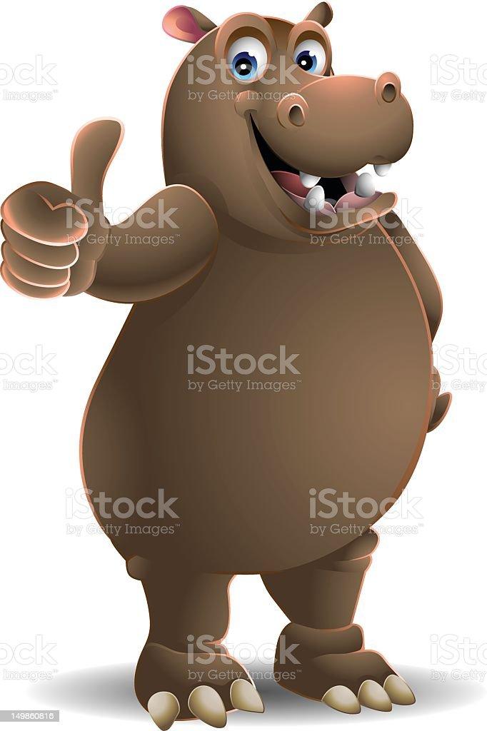 Hippopotamus: Thumbs up! vector art illustration