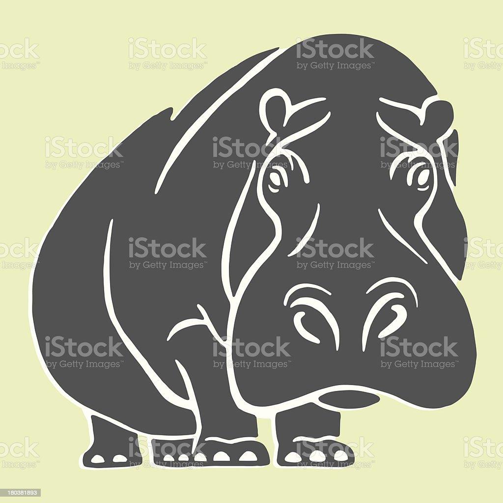 Hippopotamus vector art illustration