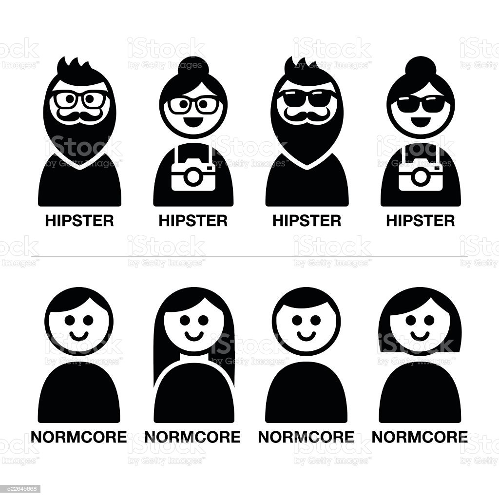 Hipster and normcore trend, style - man and woman icons vector art illustration