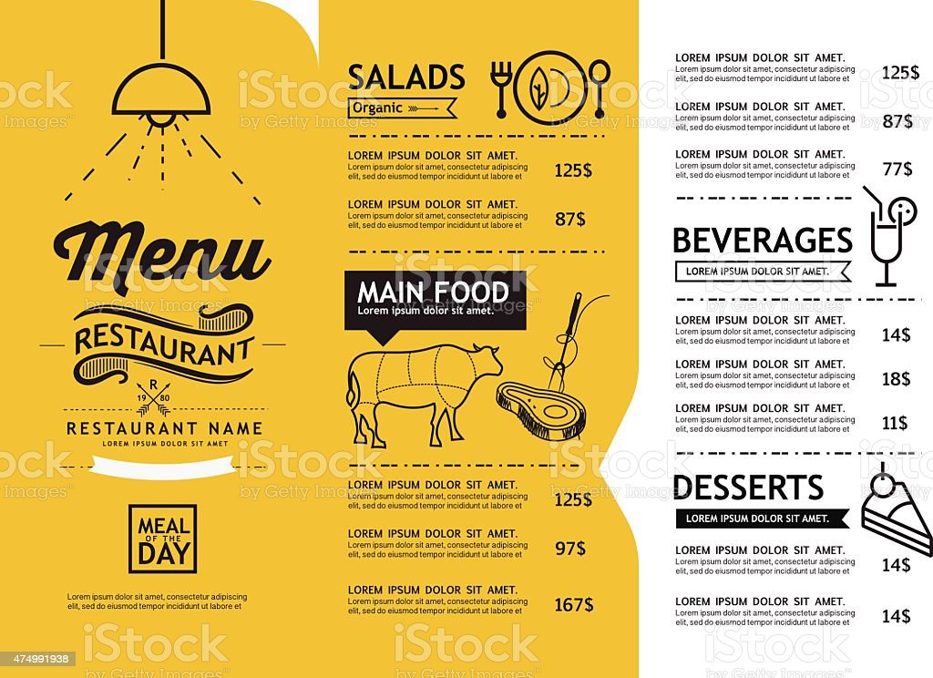 hipster and vintage art restaurant menu design template. vector art illustration