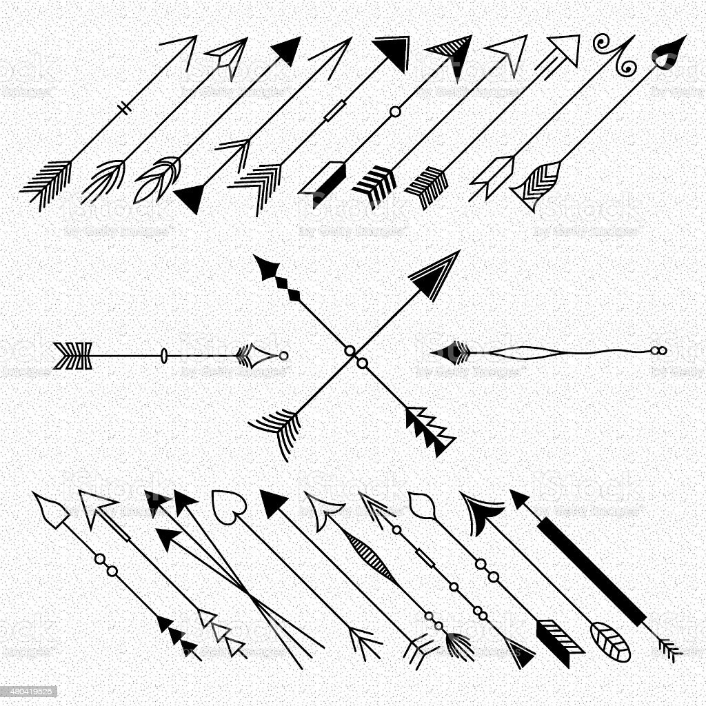 Hipster arrows collection. vector art illustration