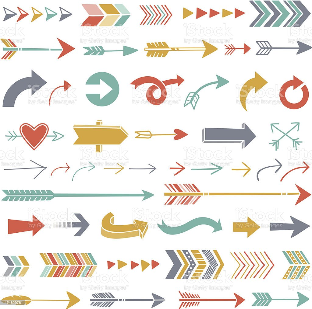 Hipster Arrows vector art illustration