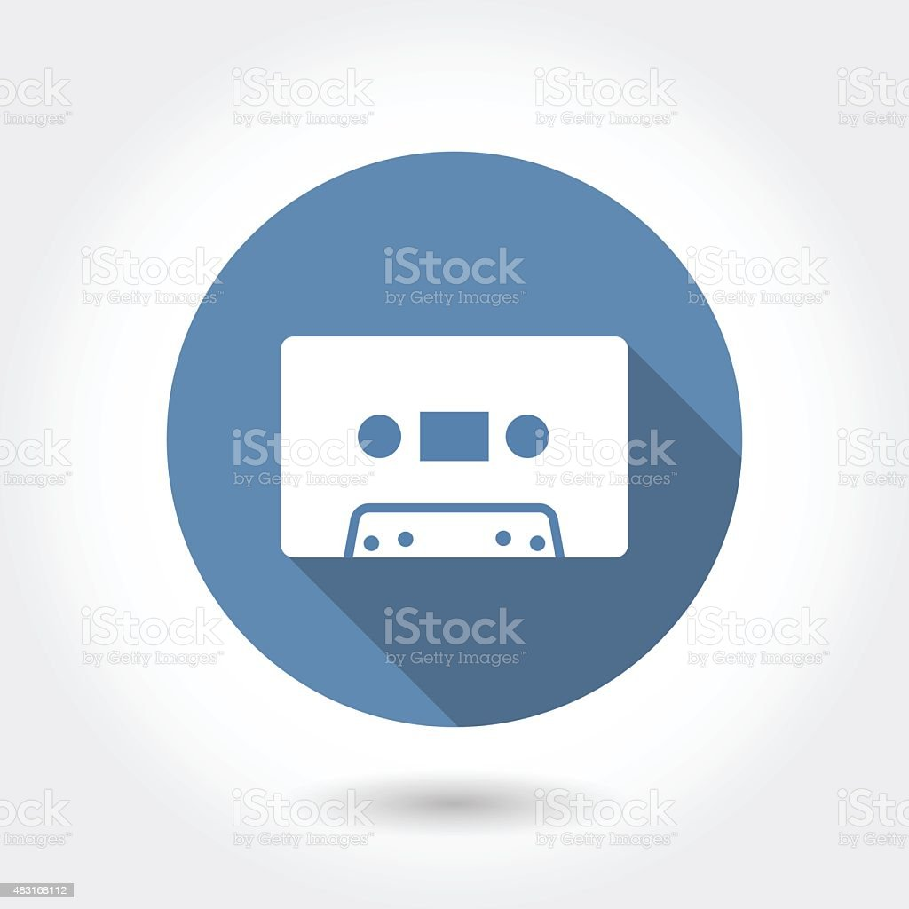 Hipster audio or cassette icon with long shadow, modern vector vector art illustration