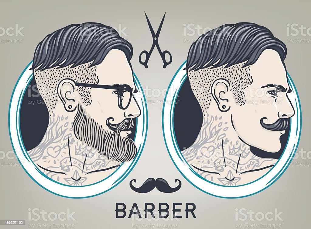 Hipster Barber Shop Business Card design template. vector art illustration