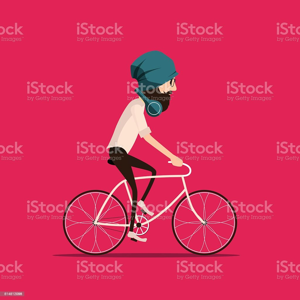 Hipster bearded man in a hat riding vintage bicycle. vector art illustration