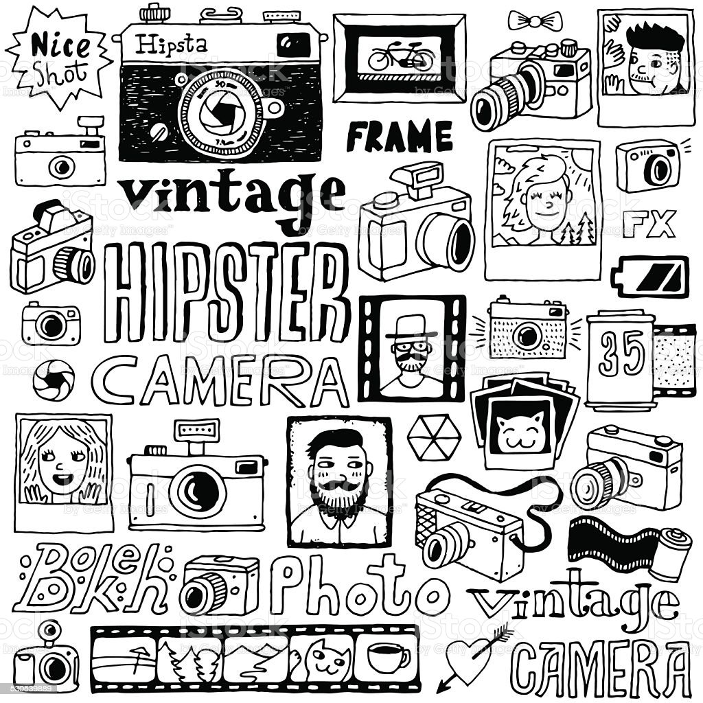 Hipster cameras doodle hand drawn vector  set. vector art illustration