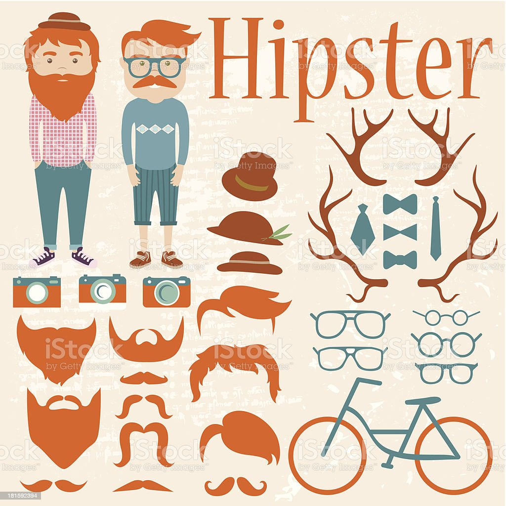 Hipster Character Kit - Hairstyles, Hats, Glasses, Mustaches, Beards, Cameras vector art illustration