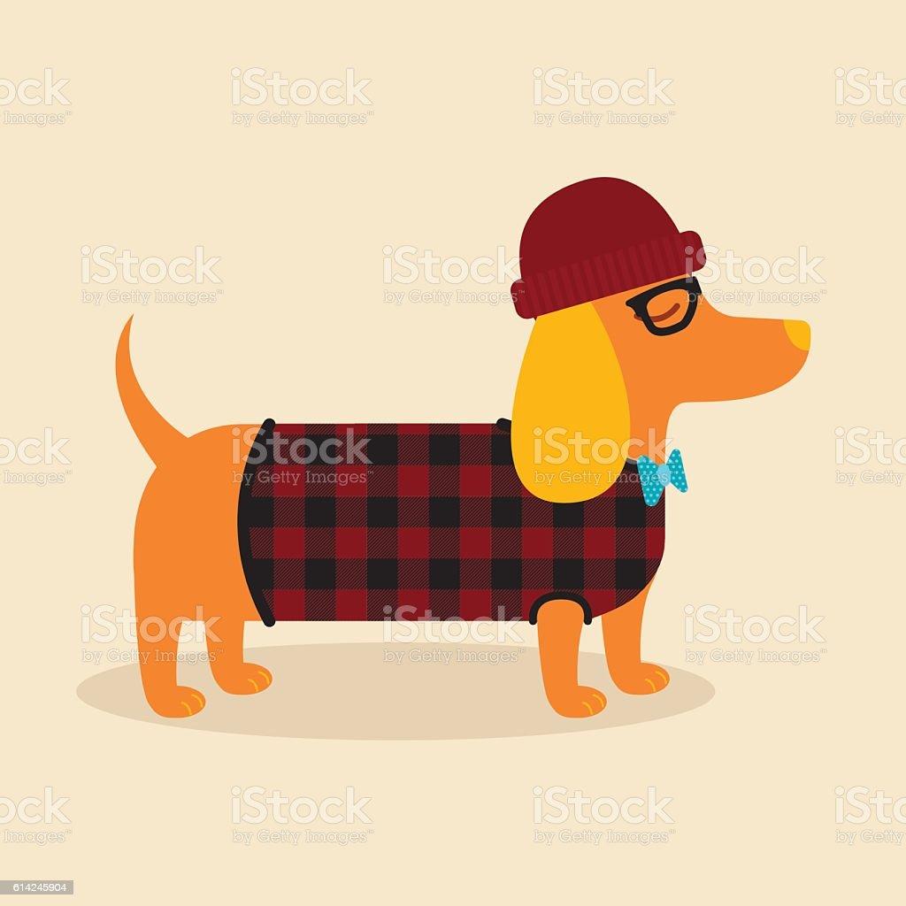Hipster Dachshund vector art illustration