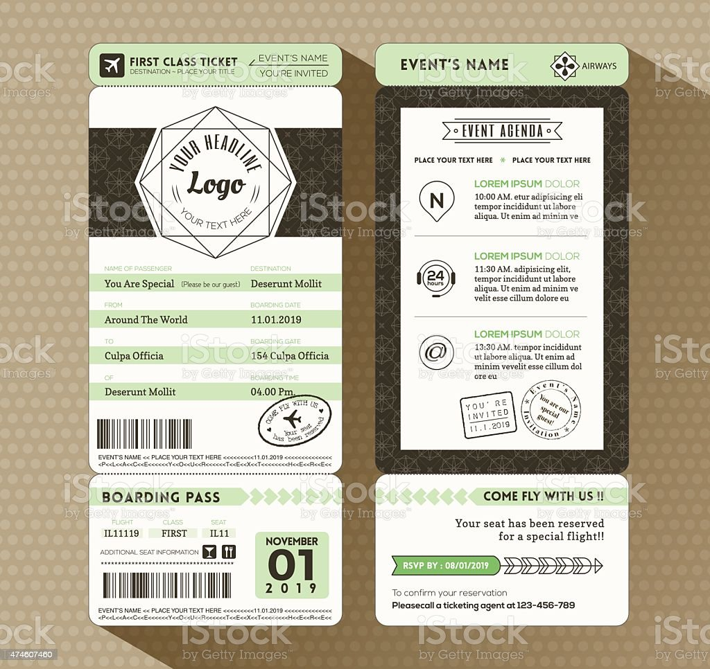 Hipster design Boarding Pass Ticket Event Invitation card Template vector art illustration