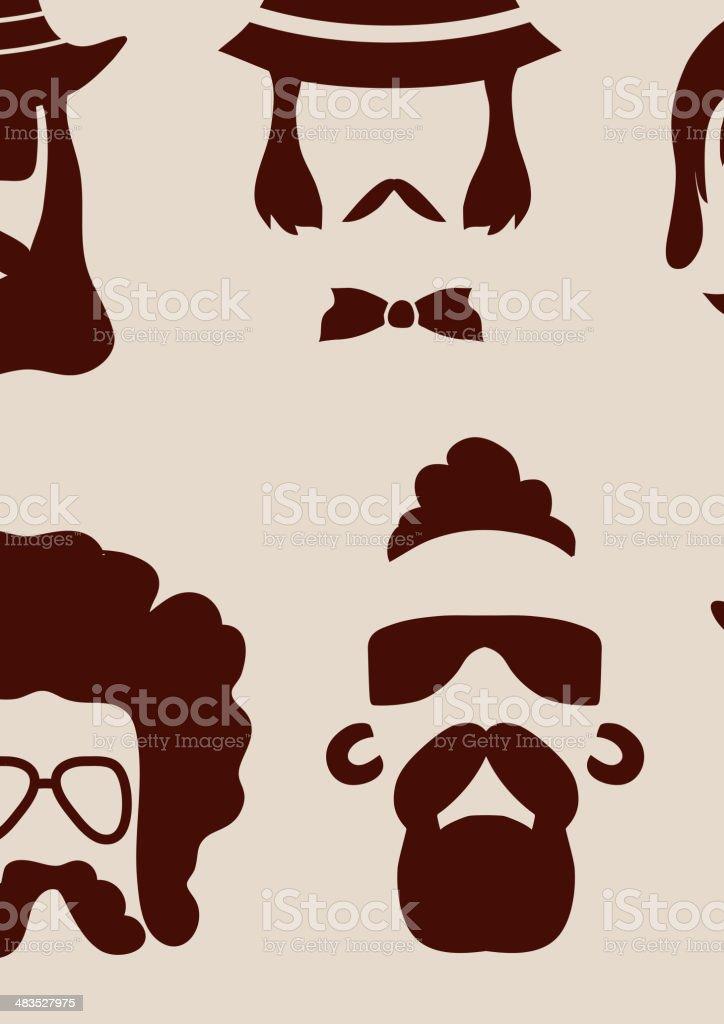 Hipster faces vector art illustration