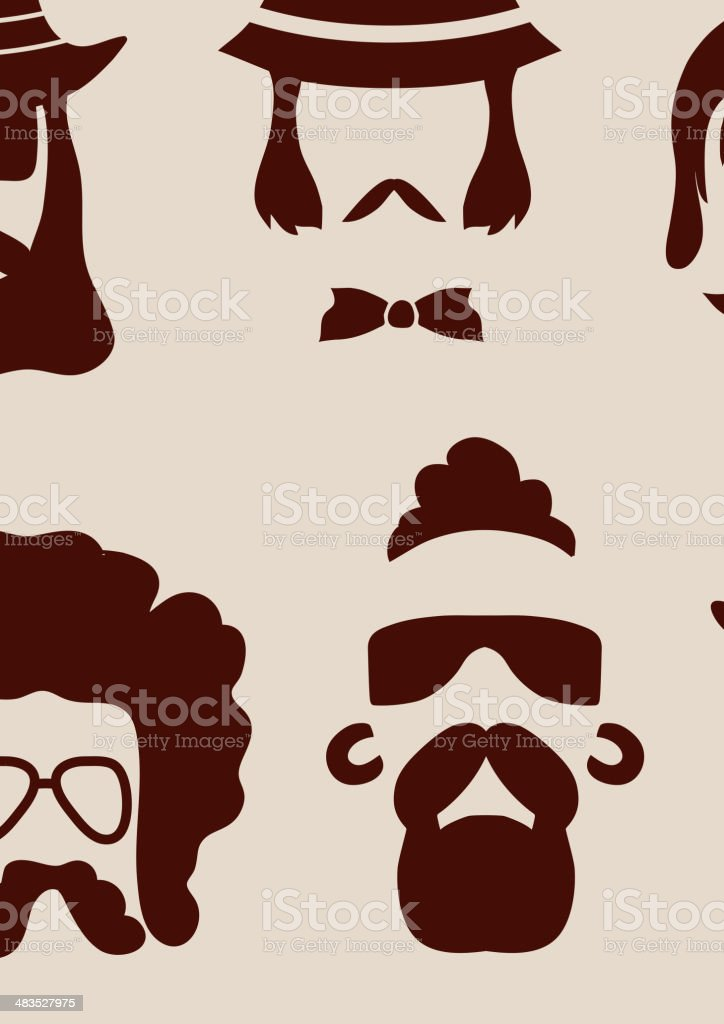 Hipster faces vector art illustration