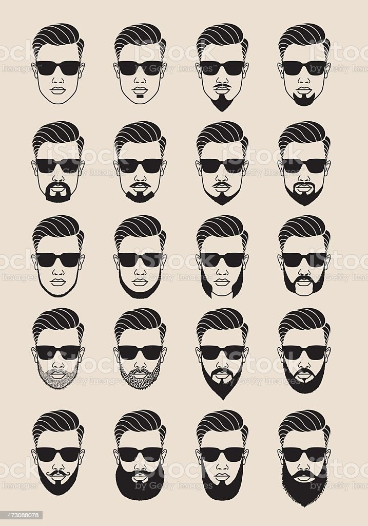 hipster faces with beard, user, avatar, vector icon set vector art illustration