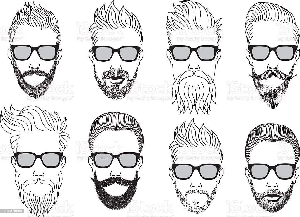 hipster faces with beard, vector set vector art illustration