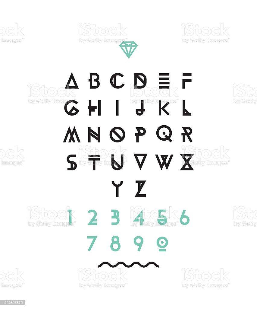 Hipster font, typeface, typography, typewriter, poster, type, text, sans serif vector art illustration