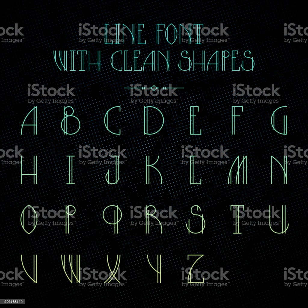 Hipster font with linear letters vector art illustration