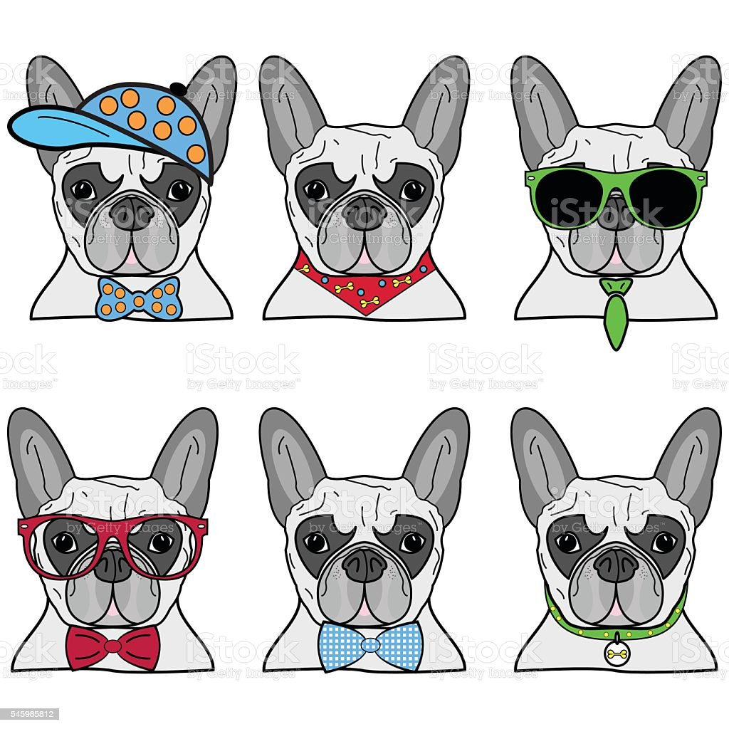 Hipster French bulldog style collection made out of six dogs vector art illustration