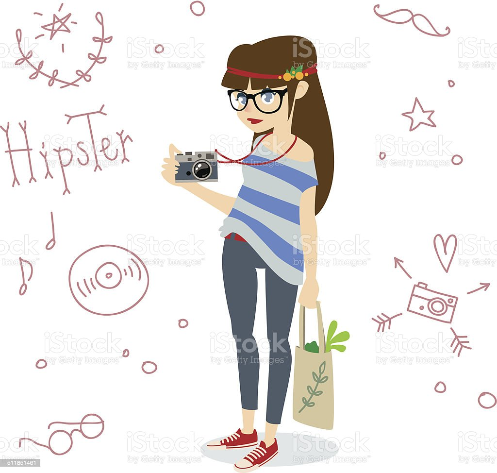 Hipster girl with a retro camera. vector art illustration