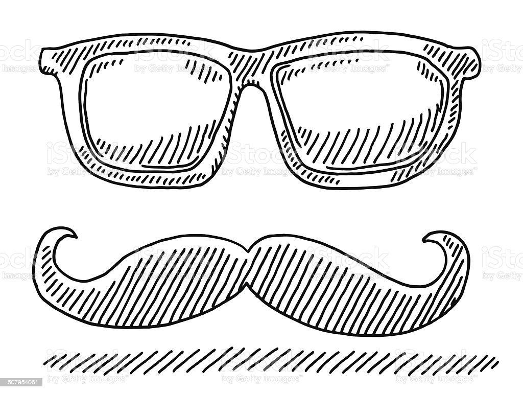 Hipster Glasses Mustache Drawing vector art illustration