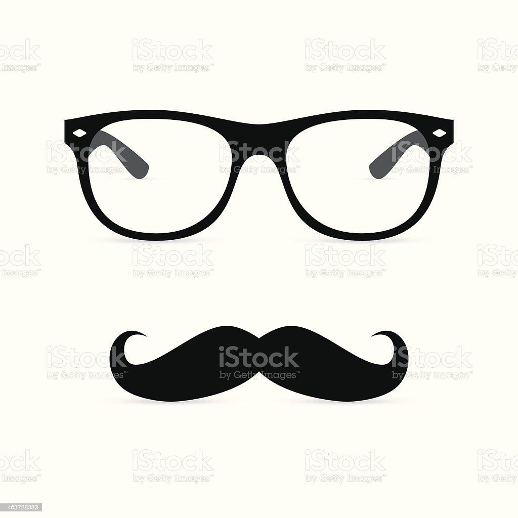 Hipster glasses with mustache. Vector illustration vector art illustration