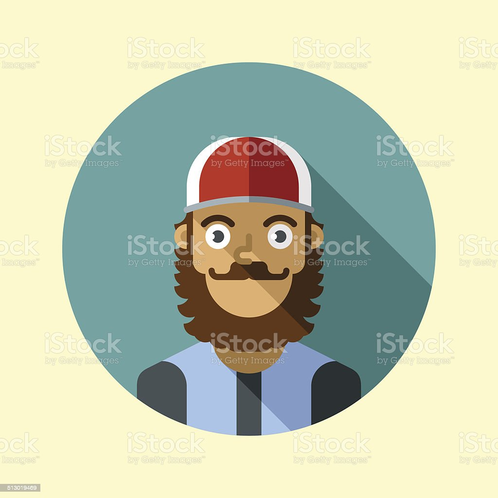 Hipster guy with beard and cap. Hipster icons series. vector art illustration