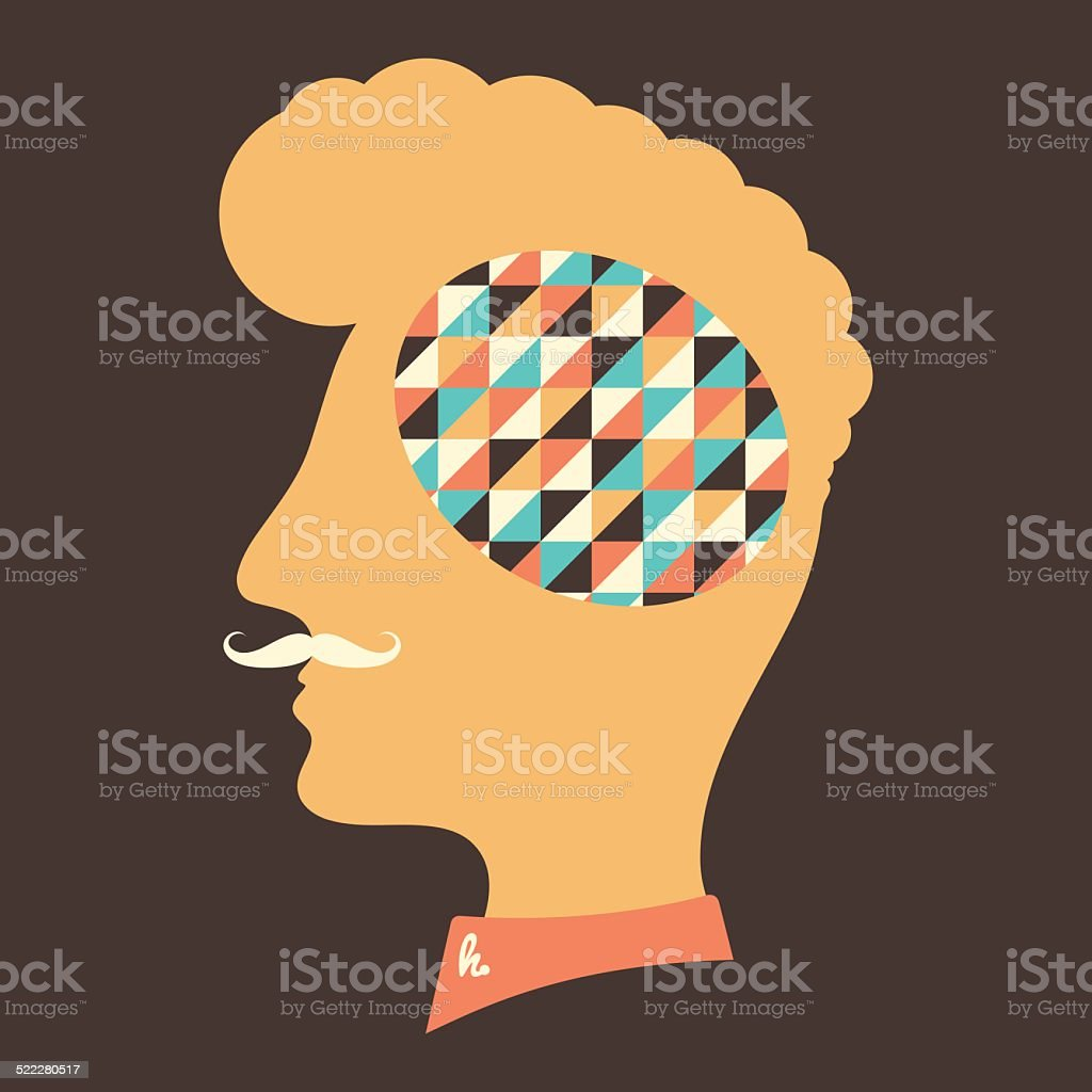 Hipster head with thoughts about colorful triangles. vector art illustration