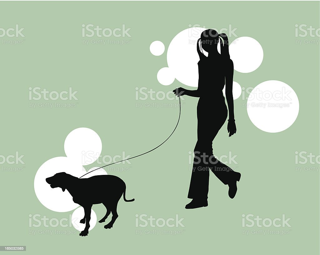 Hipster & Her Dog  (VECTOR) royalty-free stock vector art