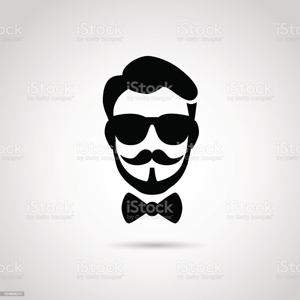 Hipster icon isolated on white background. vector art illustration