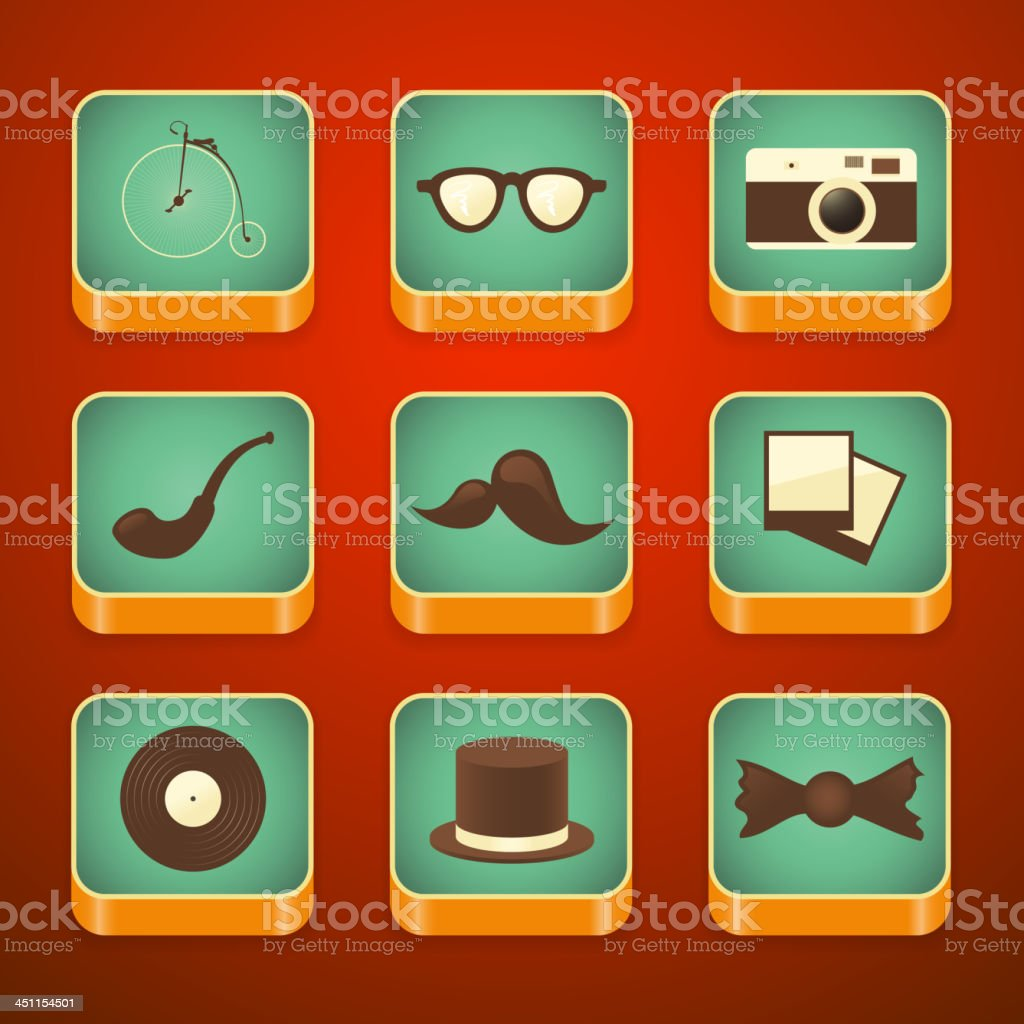 Hipster icons set royalty-free stock vector art