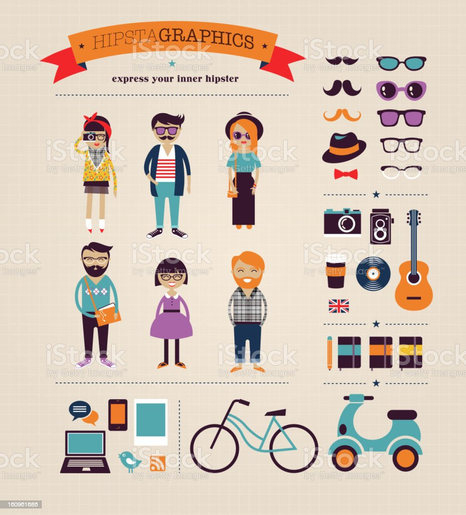 Hipster infographic concept background with icons vector art illustration