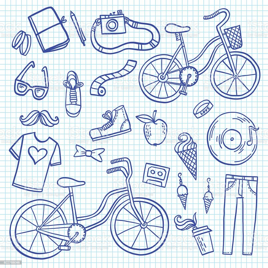 Hipster lifestyle icon collection vector art illustration