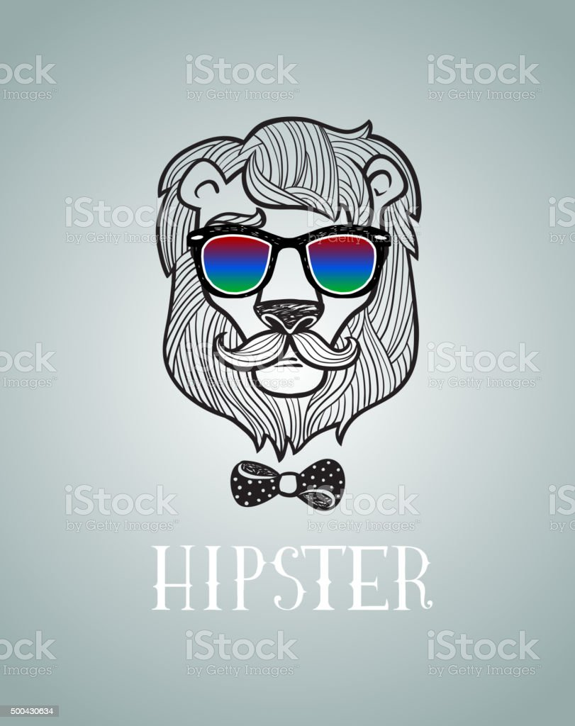 Hipster lion wearing spectacles vector art illustration