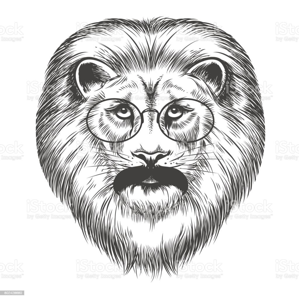 Hipster lion with mustache and eyeglasses vector art illustration