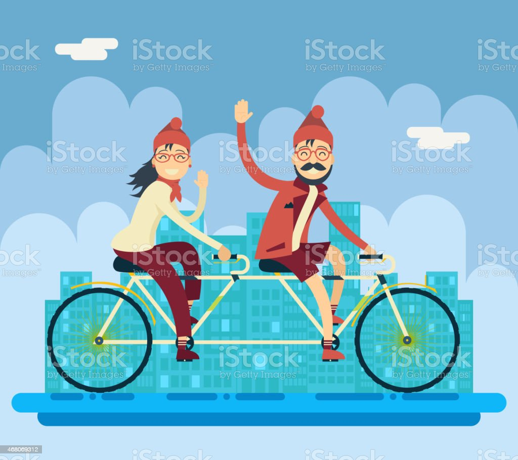 Hipster Male Female Characters Riding Companion Tandem Bicycle Concept Urban vector art illustration