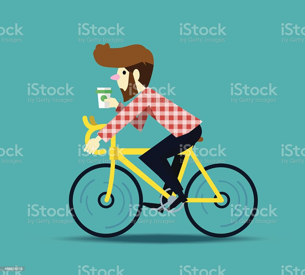 Hipster man cycling his fixie bike. vector art illustration