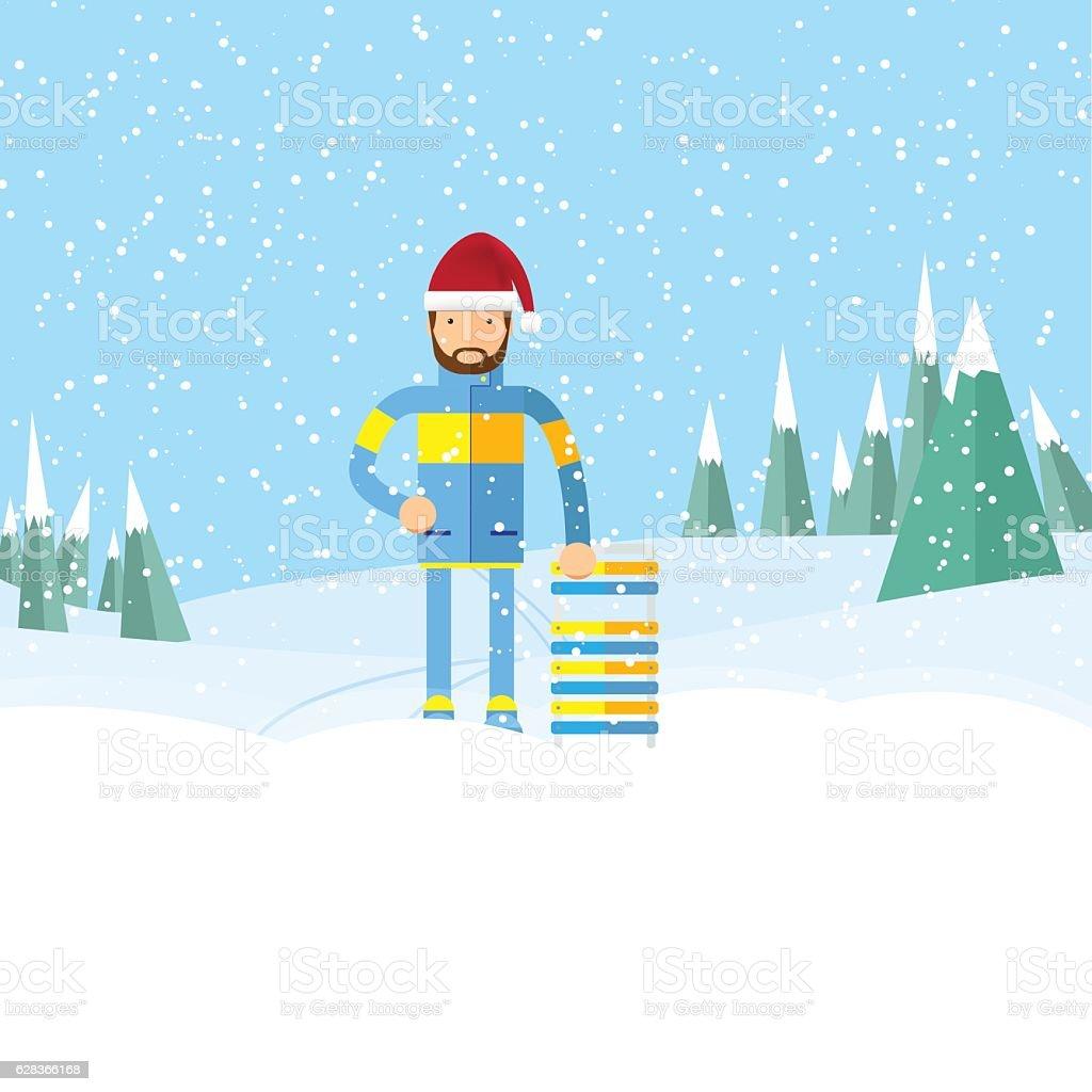 hipster man with beard on winter landscape, vector art illustration