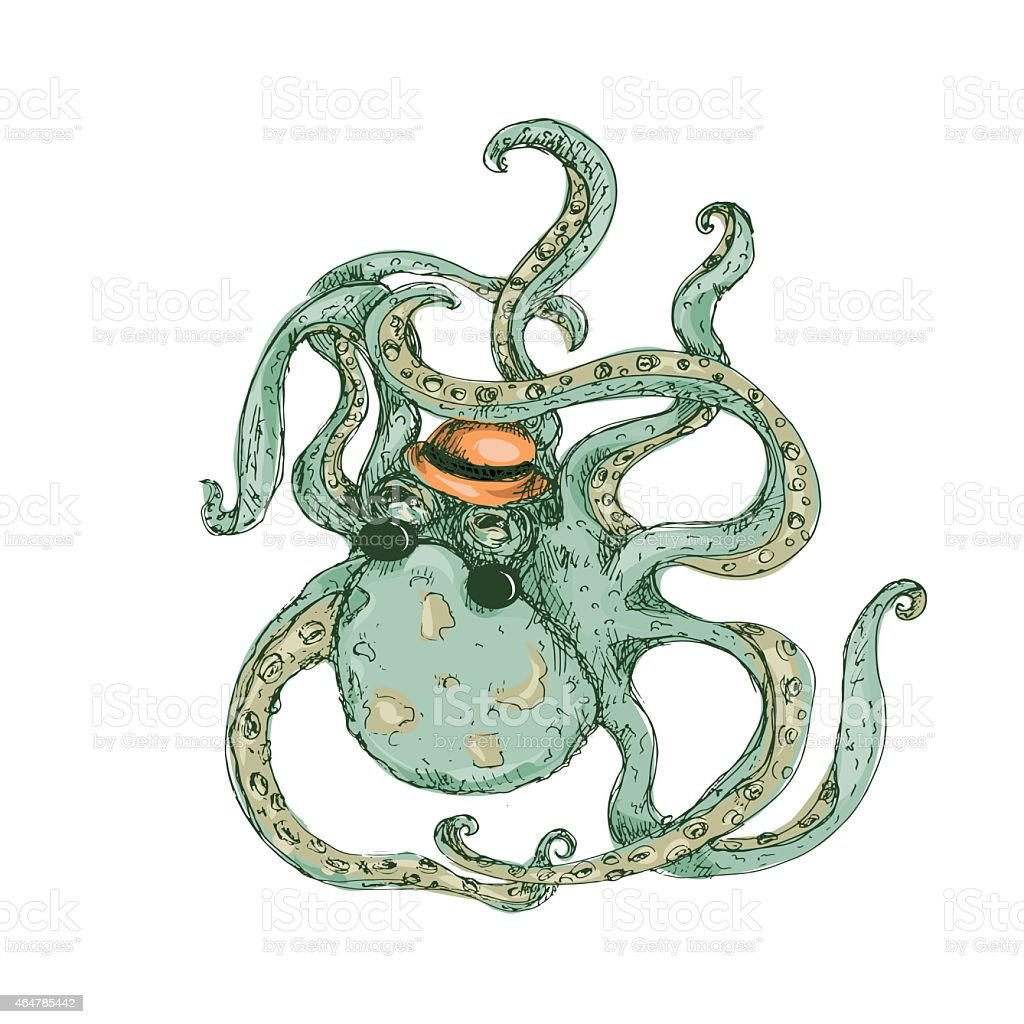 Hipster Octopus Color vector art illustration