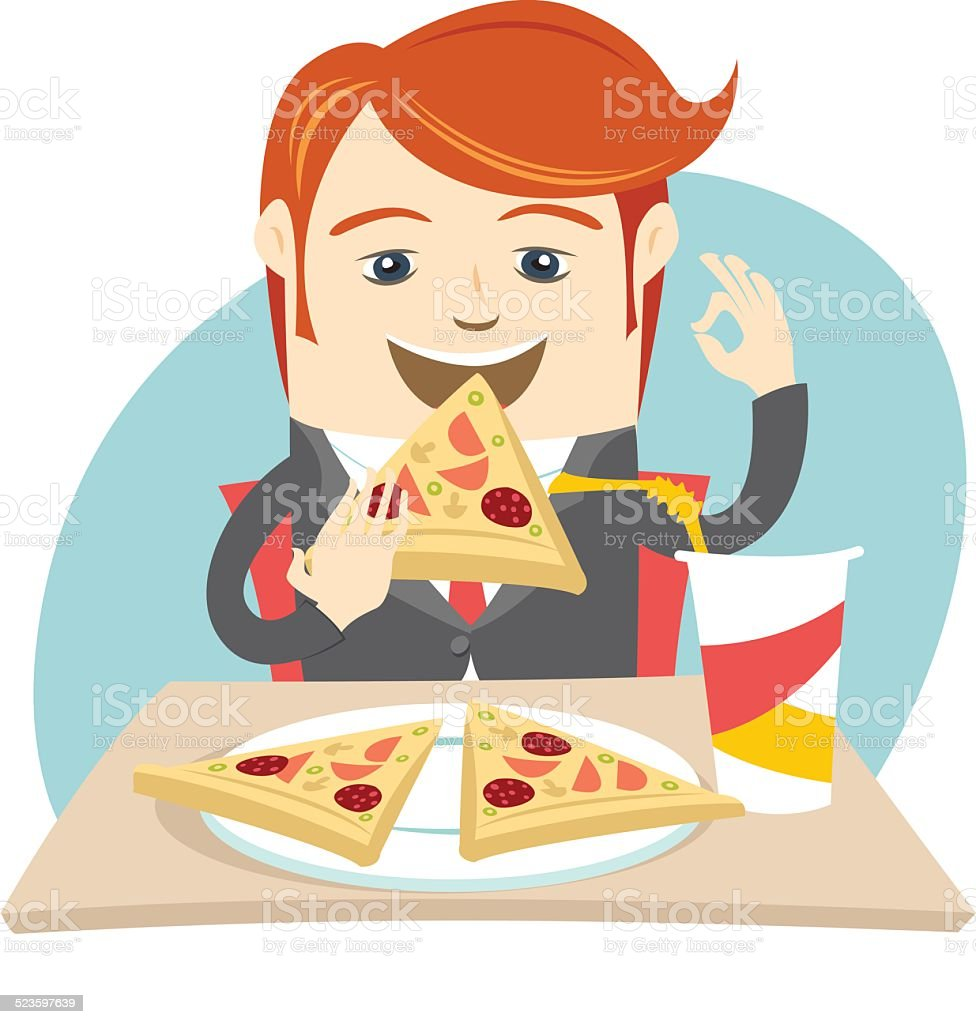 Hipster office man eating pizza at cafe. Flat style vector art illustration